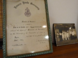 Dr. A.S. Rao's degree from Benares Hindu University, next to a later picture of him and my grandmother with my father, aunts, and uncles.
